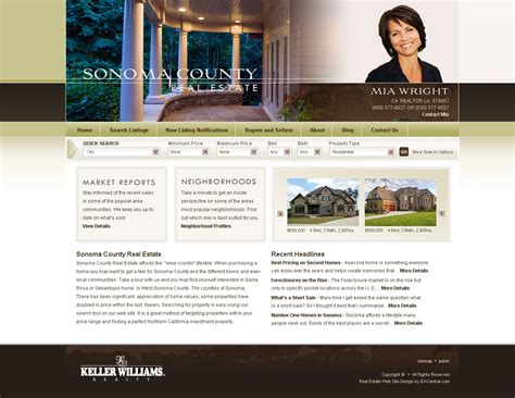 Wordpress Real Estate Template Sonoma Agent Broker Websites And Blogs From Idxcentral Com Website Templates For Real Estate Agents Free