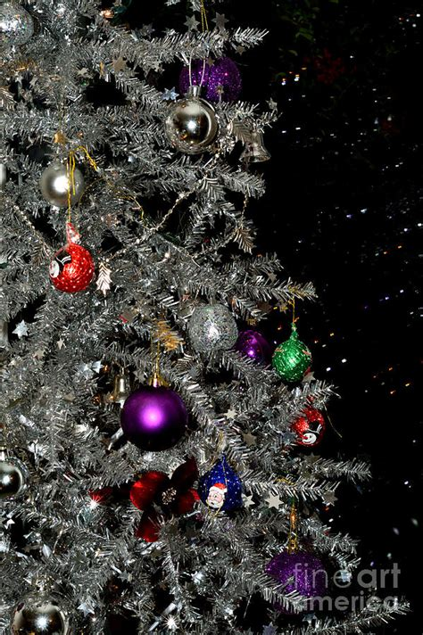 silver christmas tree and lights photograph