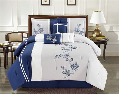 navy and gray bedding 7 piece floral vine embroidered navy gray comforter set