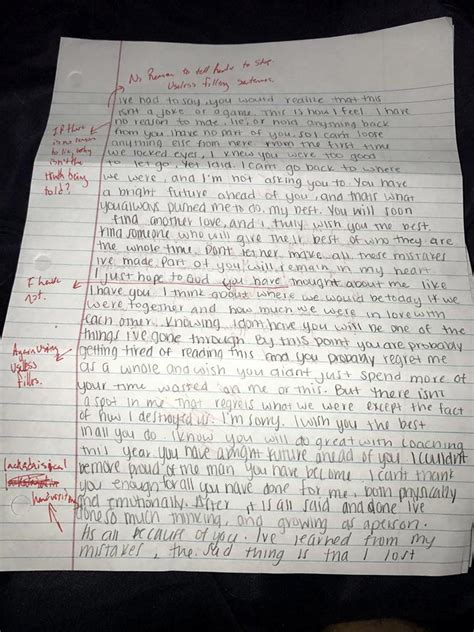 Apology Letter To My Ex This Guy S Ex Sent Him An Apology Letter And He Graded It With Pen Marks The