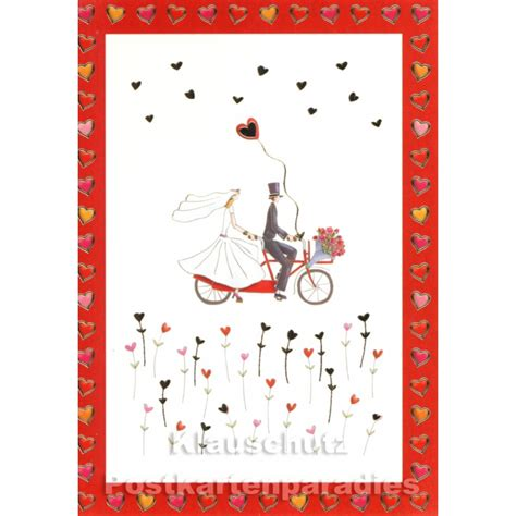 Postkarten Hochzeit by Postkarten Hochzeit Paar Auf Dem Tandem