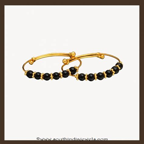 black bangles for baby 22k gold black bead baby bangles by vbj south india jewels