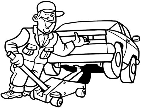 mechanic drawing free coloring pages of car repair mechanic