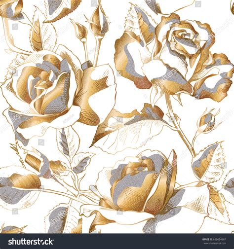 gold rose pattern 8319 seamless pattern gold rose flowers leaves stock vector