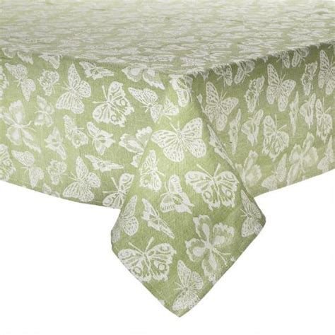 Green Table Cloth by Green White Butterfly Jacquard Tablecloth