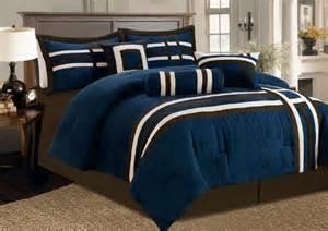 7 pc modern blue brown beige micro suede comforter set