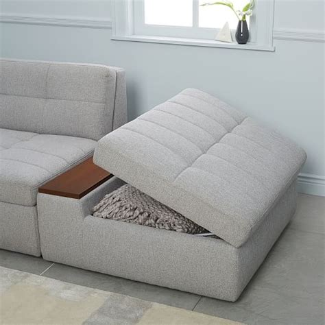 west elm storage ottoman plateau 3 piece storage chaise sectional w ottoman west elm