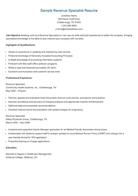 Revenue Specialist Sle Resume by 17 Best Images About Resame On Skin Care Specialist Supply Management And