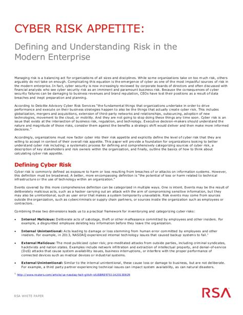 risk appetite template white paper cyber risk appetite defining and understanding