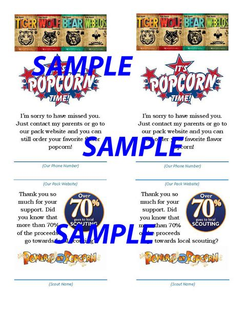 scout thank you cards template cub scout popcorn sorry i missed you card