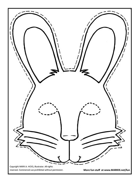 coloring pages bunny face bunny mask coloring page