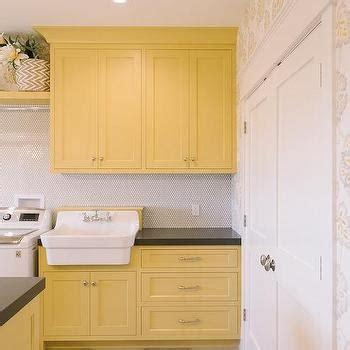 Yellow Laundry Room Cabinets Design Ideas Yellow Laundry
