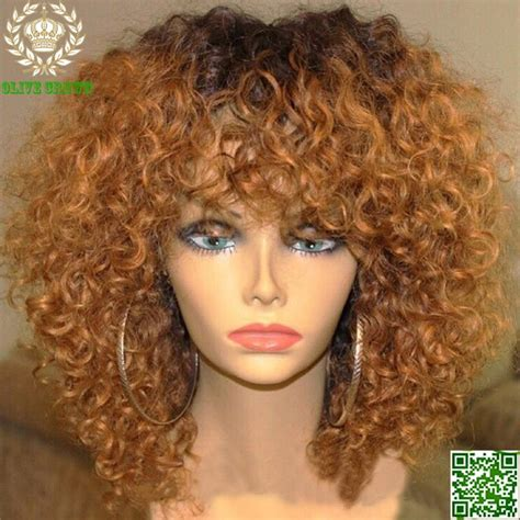 kinky curly human hair full lace front wigs virgin brazilian human hair ombre full lace wig kinky