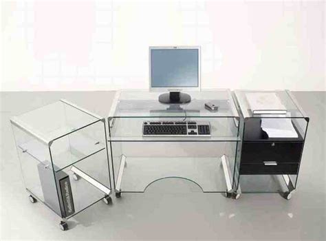 Glass Desks For Home Office Furniture Inspiring L Shaped Glass Clear Top Computer Desk With Chrome Stand Frame With Drawers