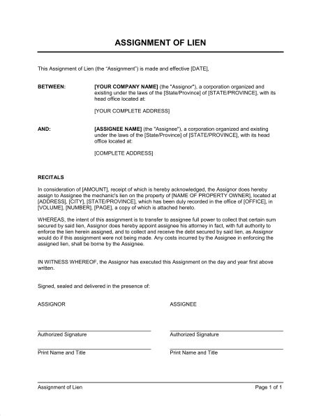Assignment Of Lien Template Sle Form Biztree Com Notice Of Lien Letter Template