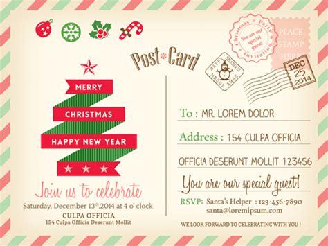 retro christmas postcard vector template 01 vector card