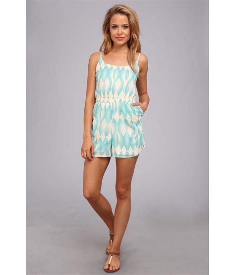 blue pattern romper roxy tainted love woven romper juniors tile blue pattern