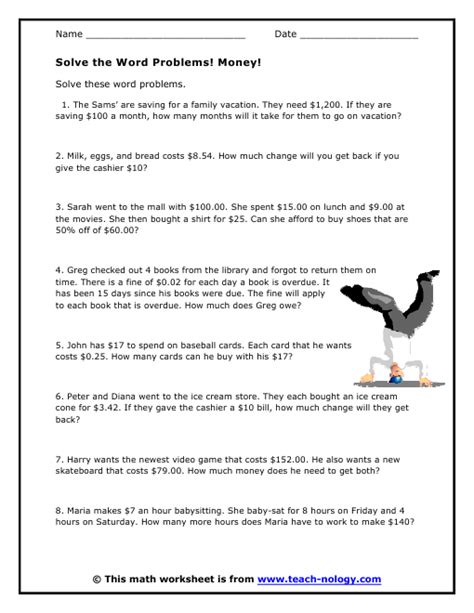 Algebra Coin Word Problems Worksheet by Solve The Word Problems Money