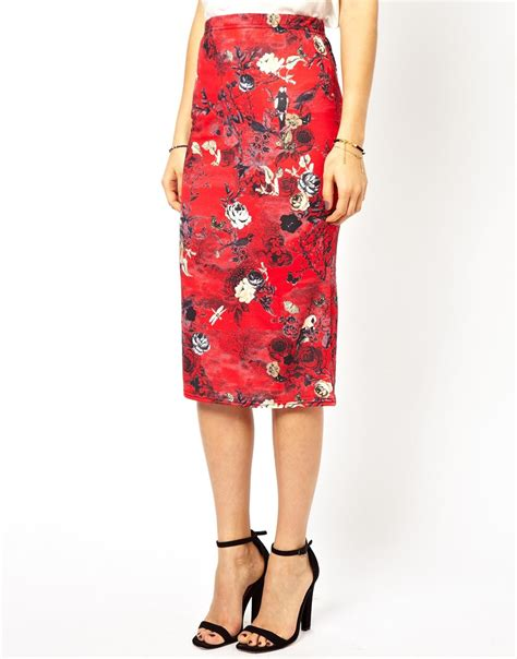 ax floral pencil skirt in lyst