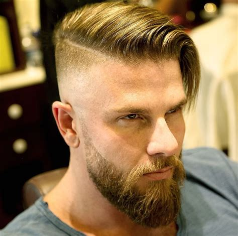 undercut part hair men side part with beard hair stylists pinterest