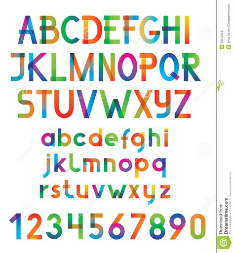 colorful fonts colorful vector font and numbers stock images image