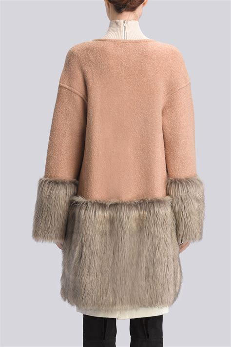 Fur Trim by Lyst Natori Boiled Wool Faux Fur Trim Coat In
