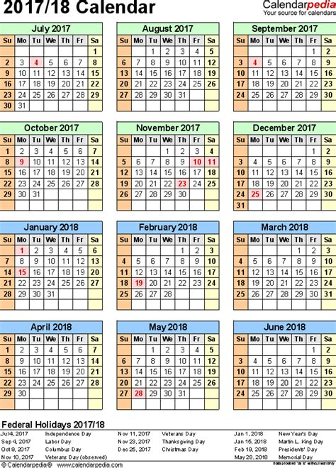 printable monthly calendar 2017 18 printable calendar 2017 18