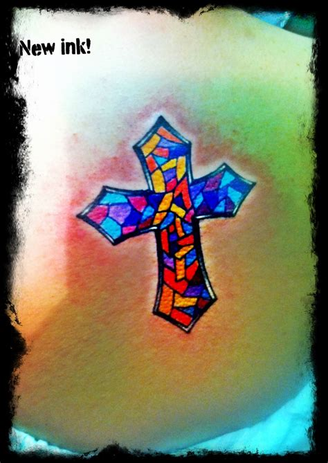 stained glass cross tattoo cross stained glass tattoos glasses