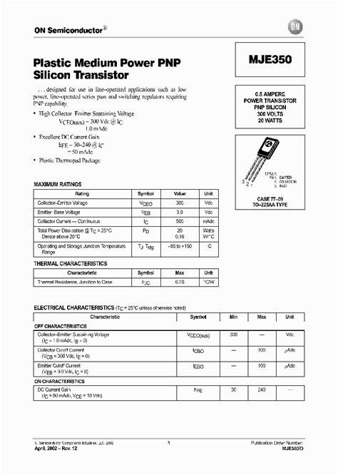 transistor mje350 mje350 d 5151079 pdf datasheet ic on line