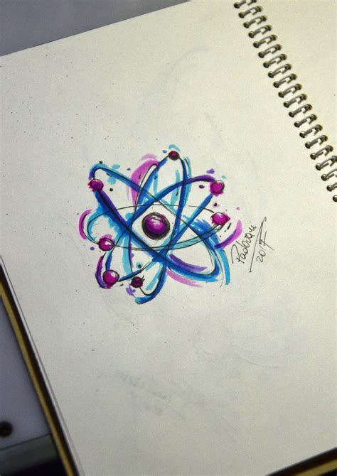 atom age tattoo atom watercolor sketch thiago padovani tats