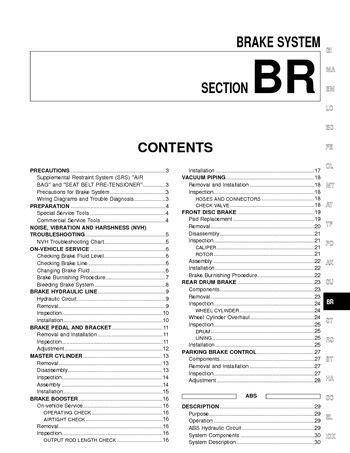 2002 nissan xterra brake system section br pdf manual 80 pages
