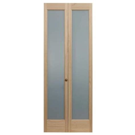 42 Inch Bifold Closet Doors Pinecroft 24 In X 80 In Frosted Glass Pine Interior Bi Fold Door 873320 The Home Depot