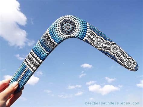 painting boomerang painted boomerang authentic aboriginal handmade bluedot