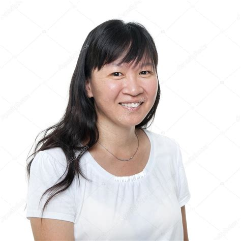 middle age asian woman hairstyle middle aged chinese asian woman portrait stock photo