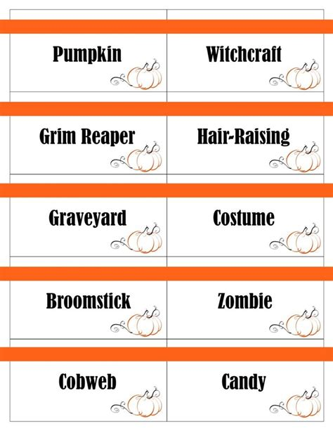 halloween themed charades printable halloween game cards for pictionary charades