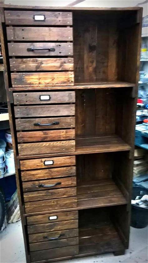 building cabinets out of pallets pallet chest of drawers bookcase cabinet