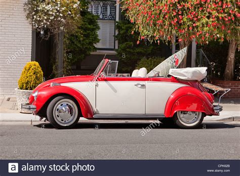 A Vintage Convertible Volkswagen Beetle Stock Photo