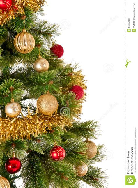 decorated christmas tree  white background stock photo