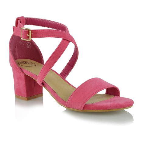 womens strappy sandals low mid heel block peep toe prom shoes size ebay