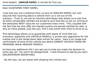 car dealer email templates ask the experts out of market used car lead follow up
