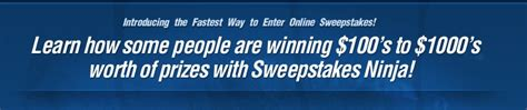 Sweepstakes Ninja - win prizes from online sweepstakes and contests with sweepstakes ninja