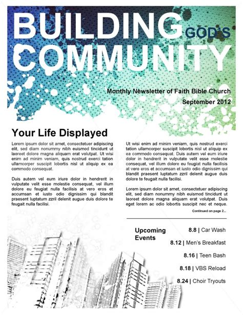 community templates community church newsletter template template newsletter