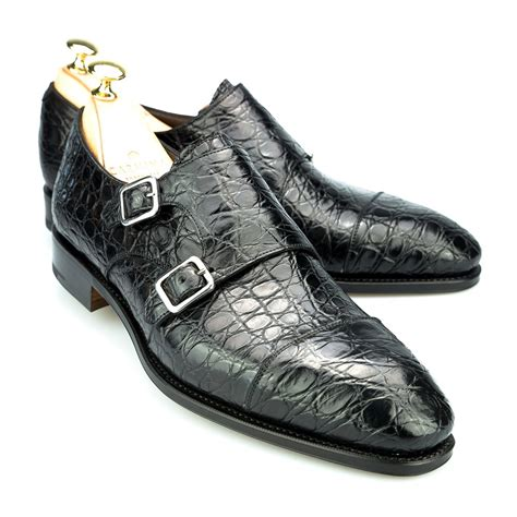 crocodile shoes monk shoes in black crocodile carmina
