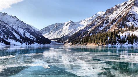 snow lake frozen lake kazakhstan ice mountain