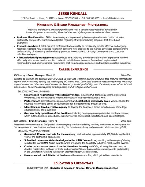 brand management cover letter brand management resume exles awesome project manager