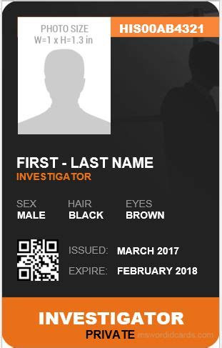 id card html css template 5 best investigator id card templates ms word microsoft