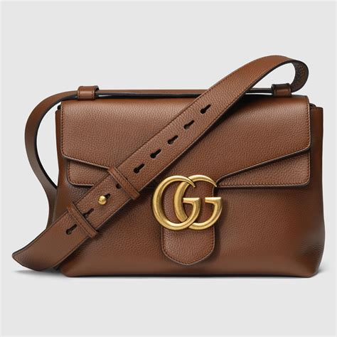 Guc Ci Leather Brown gucci gg marmont leather shoulder bag