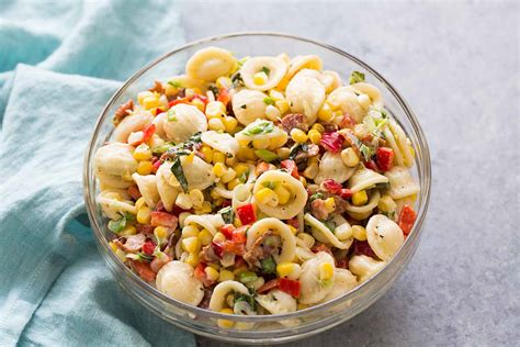 salad with pasta pasta salad with corn bacon and buttermilk ranch dressing recipe simplyrecipes
