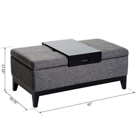 home goods storage ottoman homcom rectangular tufted fabric ottoman storage bench