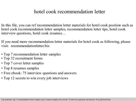 Reference Letter For Cooking Hotel Cook Recommendation Letter